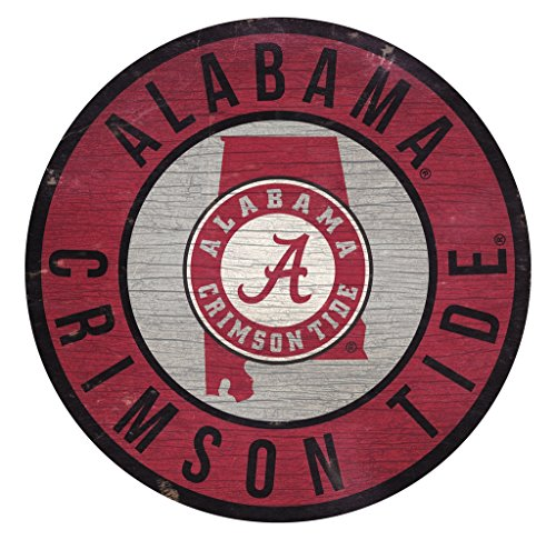 Fan Creations Alabama Crimson Tide Sign Wood 12 Inch Round State Design ()