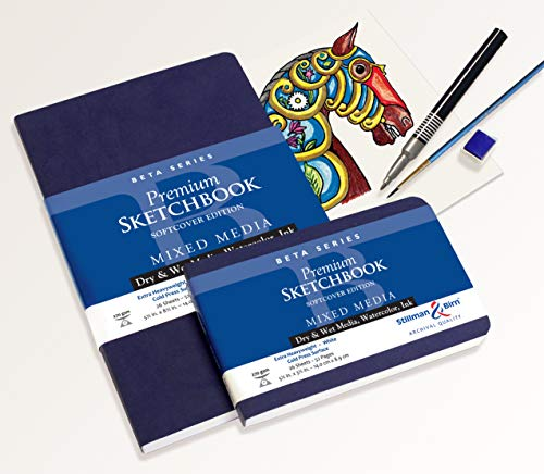 "Stillman & Birn Beta Series Softcover Sketchbook, 5.5"" x 8.5"", 270 gsm (Extra Heavyweight), White Paper, Cold Press Surface"