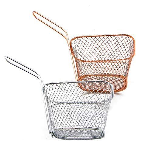 Fry Rose - JETEHO 2 Pcs Mini Square Fry Basket for Fried Food, Chip Frying Serving Basket, Silver and Rose Gold