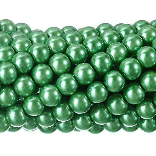 - RUBYCA 200Pcs Czech Tiny Satin Luster Glass Pearl Round Beads Beading Jewelry Making 6mm Green