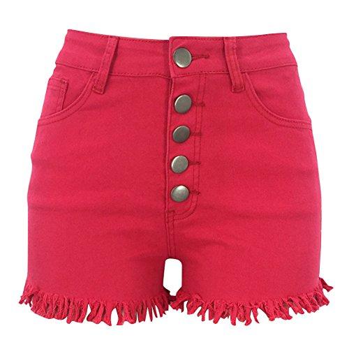 Alta Mezclilla Mujeres Rojo Cortos De Shorts Elásticos Pantalones Vaqueros Cintura w0HSXqA