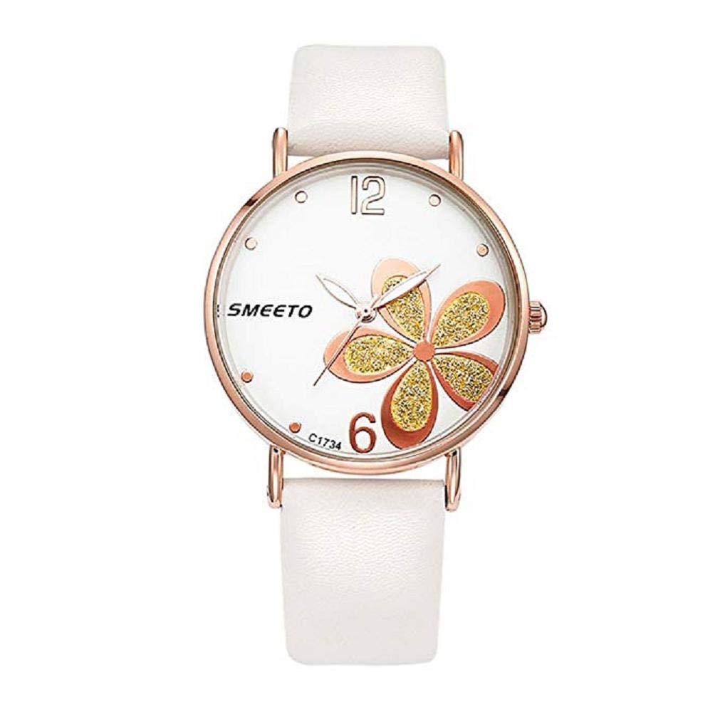 2018New Womens Quartz Watch, Windoson Ultra-Thin Four-Leaf Leathe Strap Fashion Womens Diamond Watch Boutique Minimalist Round Dial Analog Alloy Wrist ...