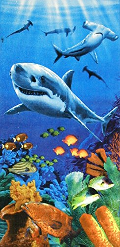 Sharks colorful reef velour brazilian beach towel 30x60 inches -