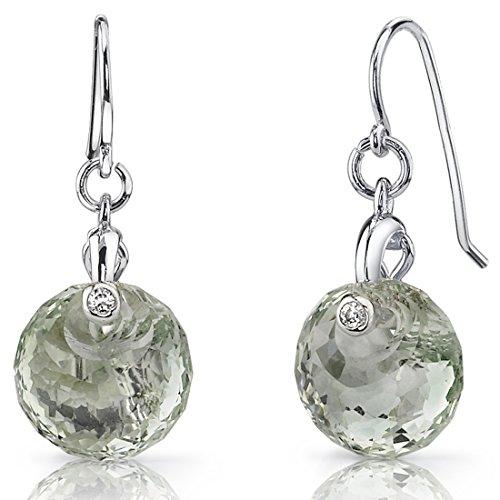 Spherical Cut 7.00 carats Green Amethyst Fishhook Earrings Sterling Silver Rhodium Nickel Finish Green Fish Earring