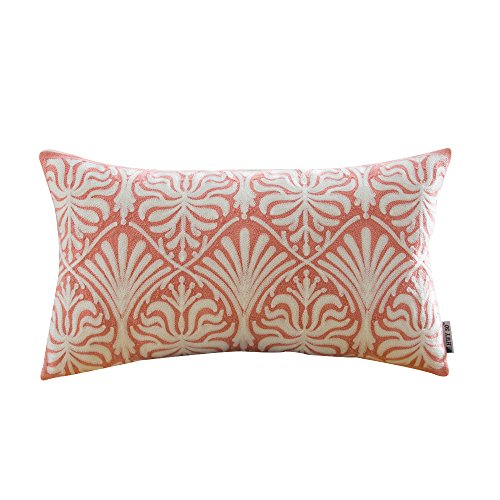 HWY 50 Coral Pink Couch Throw Pillows Covers 12 x 20 inch , 1 Pcs Cotton Canvas Home Decorative Embroidered Throw Pillow Cases For Sofa / Bed , European Geometric Pattern Pillowcases (Colored Pillows Coral)