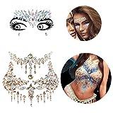 Le Fu Li 2 sets Face Gems Stickers Breast Body Jewelry Stickers Crystal Nipple Tattoo Stickers for Festival Rhinestone Decorations Tattoo Stickers