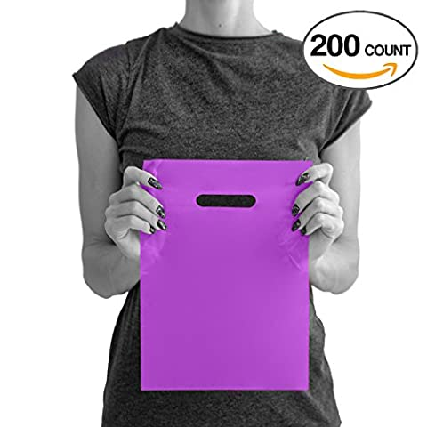 200 Purple Merchandise Bags 9x12 - 1.50 mil Extra Thick LDPE - Glossy Shopping Plastic Bag Bulk with Die Cut Handle - Small Size - 100% Recyclable - TOP (Return Labels For My Orders)