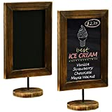 MyGift 12-Inch Burnt Wood Framed Memo Chalkboard, Tabletop Cafe Menu & Message Board Sign, Set of 2