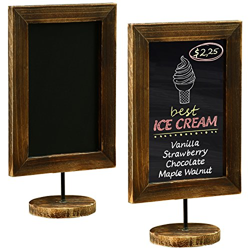 Frame Counter Table (12-Inch Burnt Wood Framed Memo Chalkboard, Tabletop Cafe Menu & Message Board Sign, Set of 2)