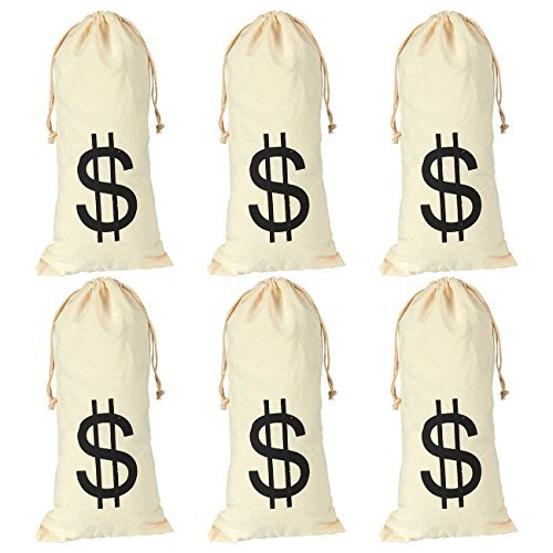 Juvale 6-Pack Large Fake Money Drawstring Bag Pouch with Dollar Sign Design, Humorous Party Favor Carry Bag, Cream, Robber - 6.1 x 12.9 inches