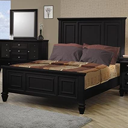 Coaster King Size Bed Cape Cod Style In Black Finish