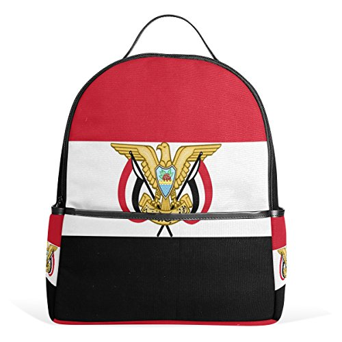Backpack Cute For School Travel Laptop Polyester Leather Yemen Flag And National Emblem