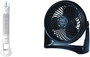 Honeywell Quiet Set Whole Room Tower Fan &HT-900 TurboForce Air Circulator Fan Black