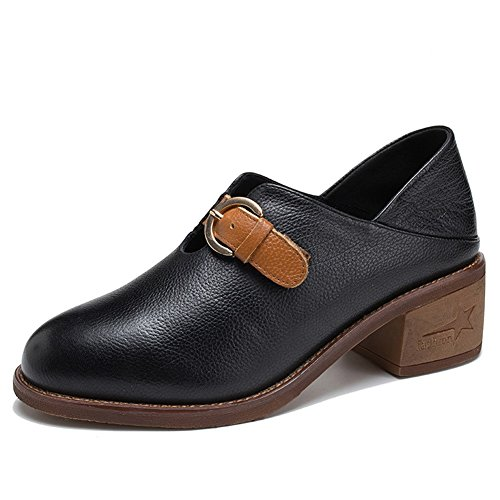 Office Oxfords Career Color Fall Shoes Size Heel Buckle 35 Chunky Top Leather Dress B Low Women's amp; Spring Sneakers OI1ZPwwq