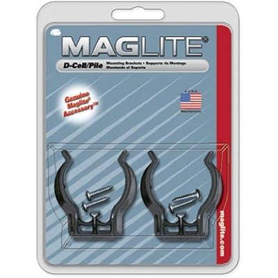 Maglite Black Universal Mounting Brackets for D-Cell Flashlight, 2 pk