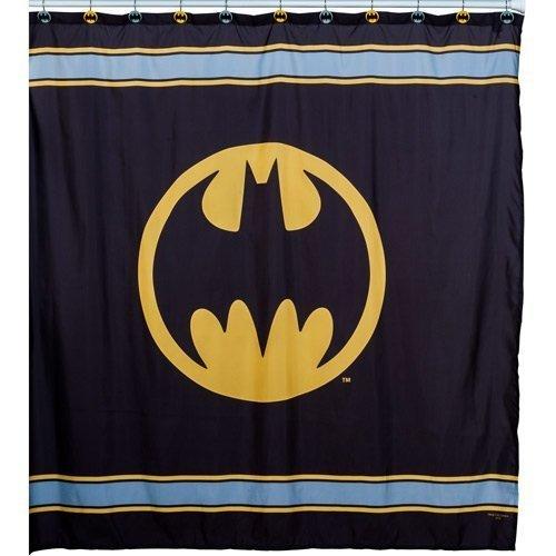 Warner Bros Batman Logo Microfiber Shower Curtain, 72-Inch - Bat Shower Curtain