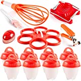 Egg Cooker Silicone holder set of 7 Accessories Hard Boiled and 8 Pack Egg Cups 1 Separators Oil Brush , Egg Poacher Cooker Support AS Seen on TV + Instructions