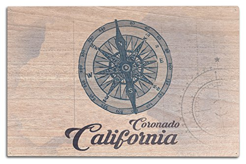 (Lantern Press Coronado, California - Compass - Blue - Coastal Icon (10x15 Wood Wall Sign, Wall Decor Ready to Hang))