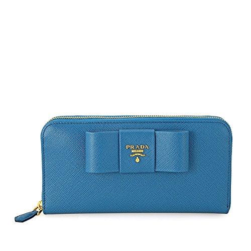 Prada Fiocco Saffiano Leather Continental Wallet - Cobalto