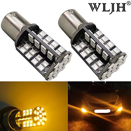 WLJH 2pcs BA15S 1156 LED Bulb P21W Canbus Error Free 2835 79SMD 12V Car Exterior Turn Signal Light Backup Light Brake Rear Tail Light (Amber)