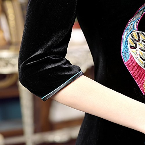 Peacock Formal Qipao Dress Black Chinese Flowers Velvet Women's Maxi ACVIP Embroidery qO8YEUz