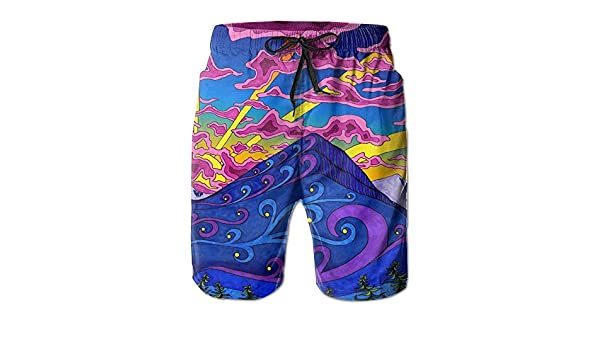 HUDEWDS23 New Psychedelic Trippy Picture Summer Suit Mens Beach Pants With Pockets