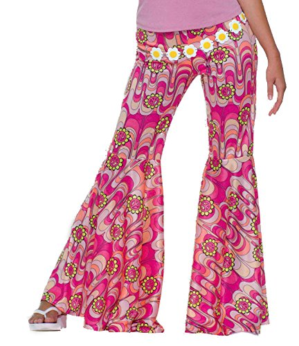 Forum Novelties Women's 60's Hippie Flower Power Bell Bottoms Adult Costume, Pink, One (Bottom Hippie Dress)