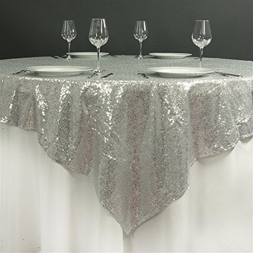 Sequined Overlay - BalsaCircle 72x72-Inch Silver Sequined Table Overlays - Wedding Reception Party Catering Table Linens Decorations