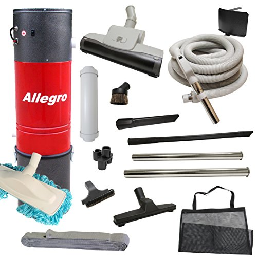 Central Vacuum Unit Allegro 3,000 sq. ft. with 30′ Straight Air Attachment VAC Set