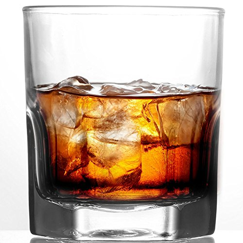 ed Whiskey Glass, 10 oz Lead-Free Rocks Glass Set With Heavy Bottom, Ultra Clear Whiskey Glasses for Scotch, Bourbon, Vodka and Liquor Glassware ()