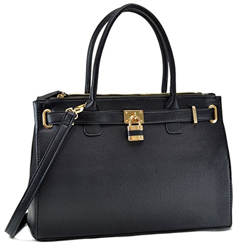 Top Fn0326 Womens Shoulder Tote Black Purse Handle Satchel Dasein Handbags Designer Padlock Bag 6Tqww