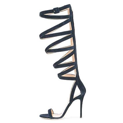 2dc90630b706b Amazon.com: FCXBQ Roman Knee Sandals, Stiletto Open Toe Sandals ...