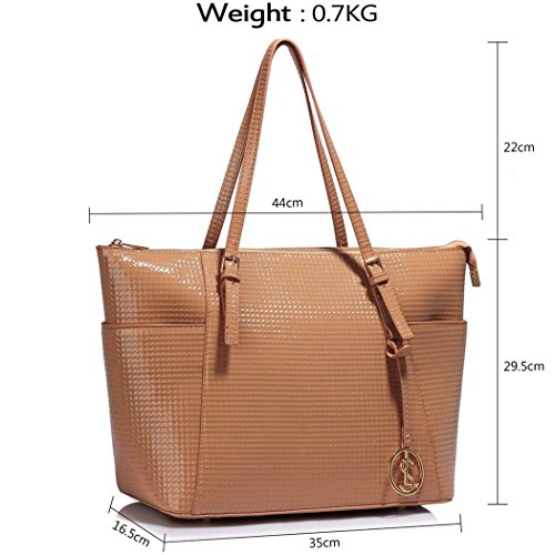 Faux Nude Leather School For Bags Handbags Holiday Pink Quality Patent Women Oversize CW30 Shoulder Bag Shoulder Bag LeahWard Shopper Women's wxqpYnB