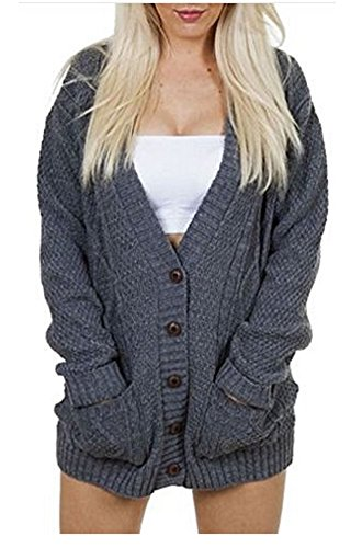 OgLuxe Women's Ladies Long Sleeve Pocket Cable Knit Chunky Cardigan Size 6-24 (L/XL (UK 16-18 EU 44-46 US 12-14), Charcoal 2)