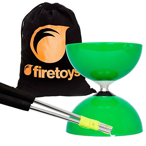 Green Big Top - Jumbo Bearing Diabolos Set, Ali Dream Metal Diablo Sticks, Diabolo string & Firetoys Bag