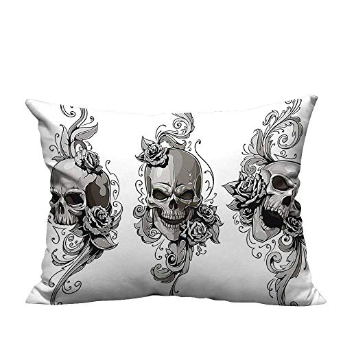 ve Couch Pillow Cases Tattoo Artist Angel Inspired with Tattoo Ink Pencil and Fierce Skull Art Black Easy to Wash(Double-Sided Printing) 19.5x30 inch ()