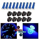 CCIYU 10 Pack Super Blue T5 74 85 58 37 27 17 High Power Led Instrument Panel Light Bulbs w/ Twist Socket