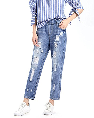 lastique Trous Pantacourt Taille Bleu Droite ZongSenA Femme Jean Sarouel Pantalon Dchirs Jeans ZqHBSxv0T