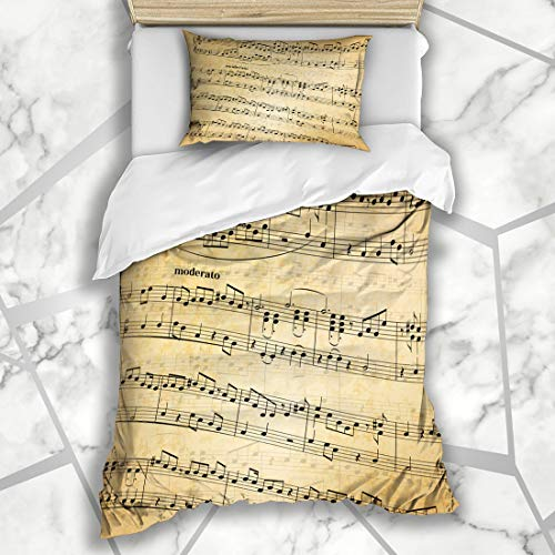 Antique Song Sheet - Ahawoso Duvet Cover Sets Twin 68X86 Notation Brown Sheet Music Notes On Stave Abstract Sonata Old Yellow Vintage Ancient Song Antique Microfiber Bedding with 1 Pillow Shams