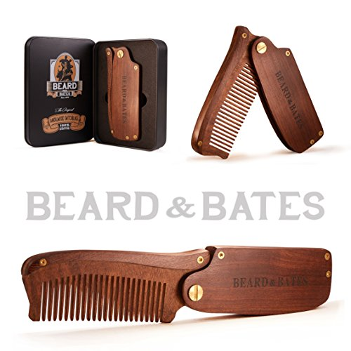 Beard & Bates   The Sandalwood Switchblade - The Original Folding Wooden Beard Hair Comb   Boutique, Artisan Crafted, Los Angeles ()