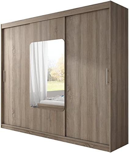 Alter GM Armario Moderno AVA 8aa Luces LED Espejo 3 Puertas correderas para Colgar estantes Dormitorio 250 cm, Roble trufa sin Luces LED, Without Carrying Service: Amazon.es: Hogar