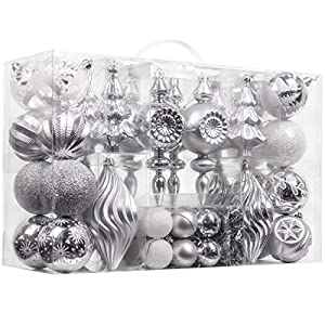 Valery Madelyn 70ct Frozen Winter Shatterproof Christmas Ball Ornaments Decoration Silver White, 1.57-5.9 Inch, Themed…