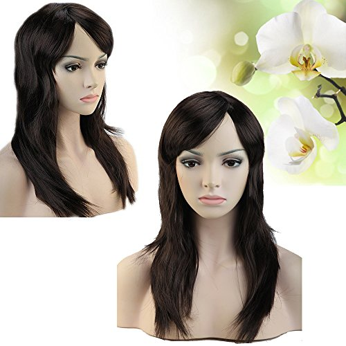 Long Straight Dark Brown Synthetic Wig with Oblique Bangs Charming Economic Wigs for Costume Party or Gifts under $10 on Sale