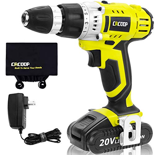 CACOOP Green Cordless 20V Lithium-ion Drill Driver Set (1.5Ah),1 Battery, Charger and Storage Bag