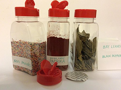 Spice Containers 6 sets - 16 oz. clear plastic pet spice jars storage container bottle with red two sided flip tops shaking sifter spoon caps - plus 2 mini spoons and 6 White indicating space labels