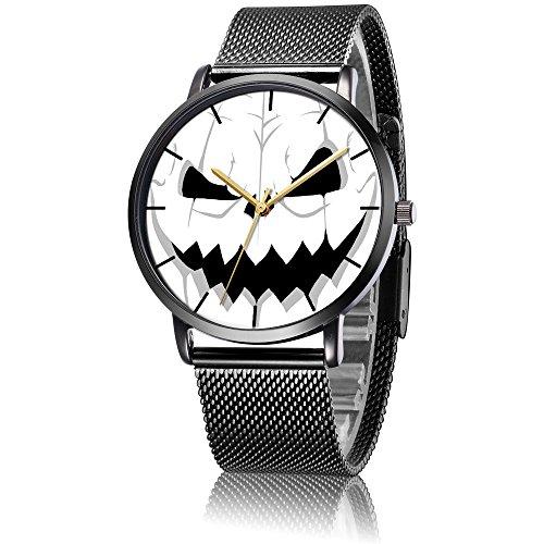(SunbirdsEast Wrist Watch, Pumpkin Halloween Pattern Black Steel Analog Quartz Vogue Watch)