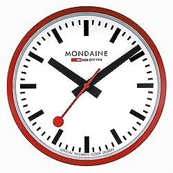 Mondaine A990.CLOCK.11SBC Wall Clock White Dial Red Frame