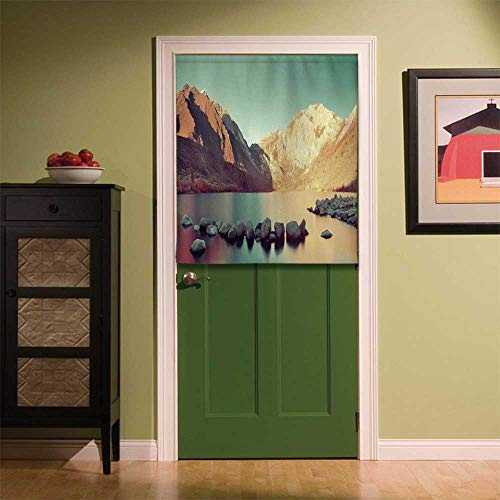YOLIYANA Lake House Decor Fabric Art Door Curtain,Snow Mountain and Convict Lake with Reflections in Yosemite Countryside Scene for Locker Room Store Privacy Space,33.46''W x 39.37''H