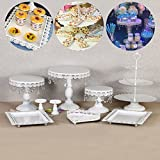 9 Set Metal Crystal Cake Holder Cupcake Stand Cake Dessert Holder with Pendants and Beads,Wedding Birthday Dessert Cupcake Pedestal Display,White (9)