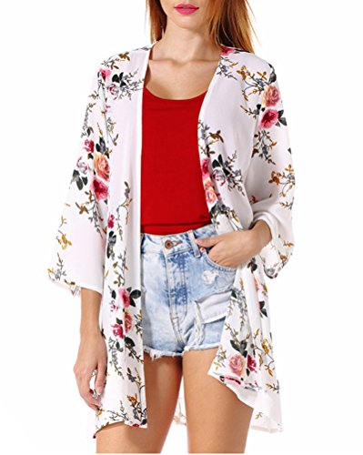 PopStore Women's Floral Print Sheer Kimono Cardigan Capes Chiffon 3/4 Sleeve Patchwork Casual Cover up Blouse ()